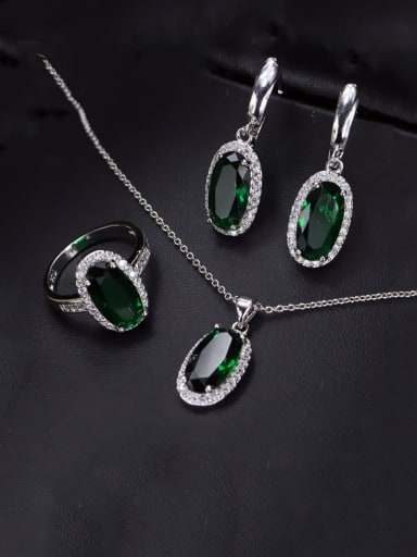 Brass Cubic Zirconia  Luxury Oval Earring Ring and Necklace Set