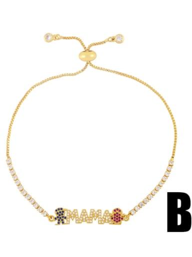 B Brass Cubic Zirconia Letter Minimalist Beaded Bracelet