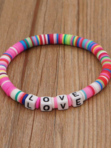 QT B200011O Stainless steel Multi Color Polymer Clay Letter Bohemia Stretch Bracelet
