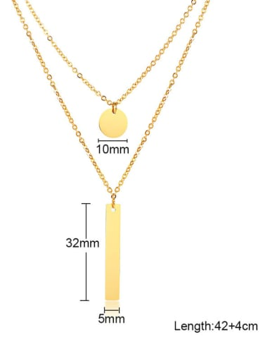 Two layers of accessories Titanium Cross Minimalist Multi Strand Necklace
