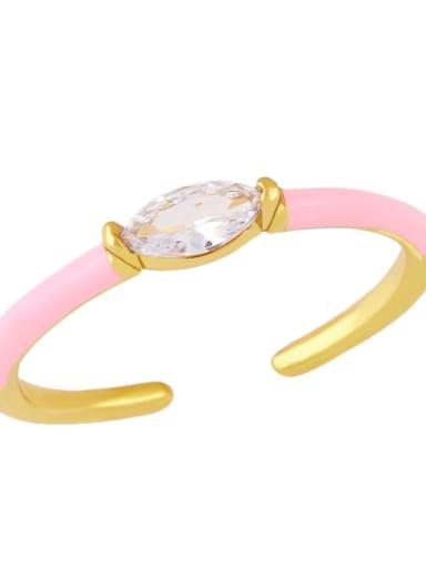Pink Brass Enamel Cubic Zirconia Geometric Minimalist Band Ring