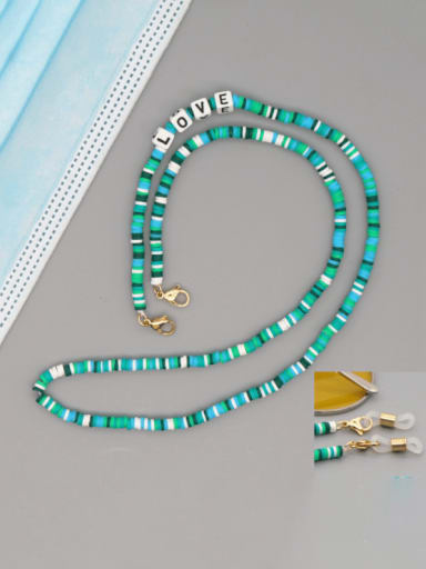 RT N200006B Stainless steel Bead Multi Color Polymer Clay Letter Bohemia Hand-woven Necklace