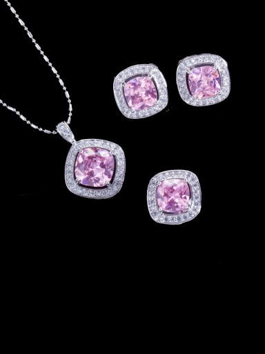 Pink Ring US 6 Brass Cubic Zirconia Minimalist Square Earring Ring and Necklace Set