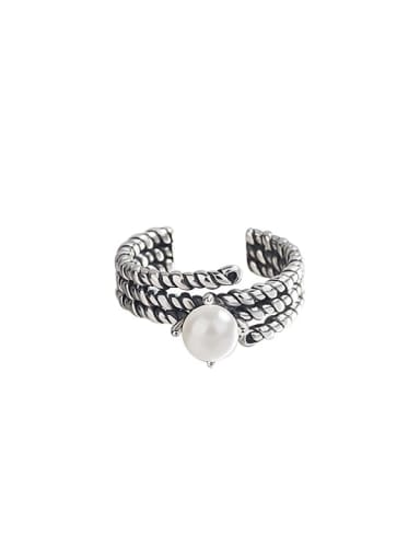 925 Sterling Silver Imitation Pearl Vintage Double chain Stackable Ring