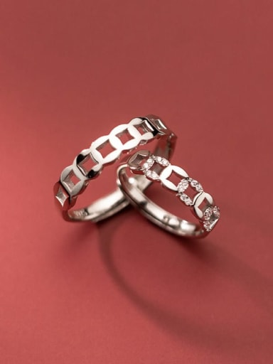 925 Sterling Silver Rhinestone Vintage Geometric male and female Couple Ring