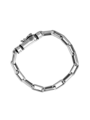 925 Sterling Silver Geometric Chain Vintage Link Bracelet