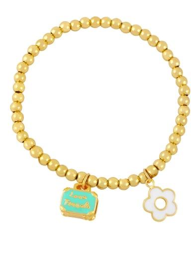 blue Brass Enamel Flower Trend Beaded Bracelet
