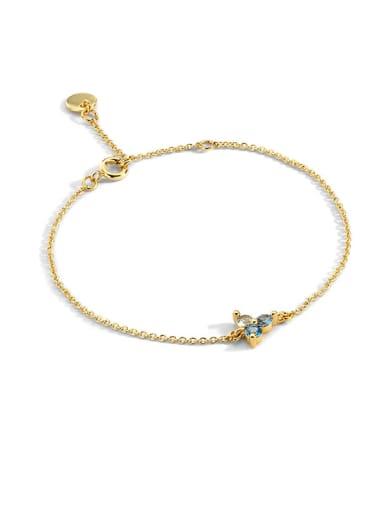 Brass Cubic Zirconia Flower Vintage Link Bracelet