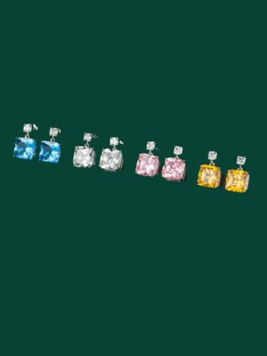 Brass Cubic Zirconia Multi Color Geometric Dainty Stud Earring