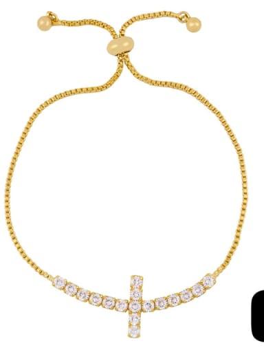 Alloy Cubic Zirconia Cross Vintage Link Bracelet