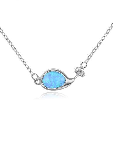925 Sterling Silver Opal Fish Minimalist Necklace