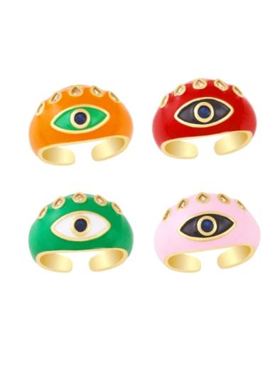 Brass Enamel Evil Eye Vintage Band Ring