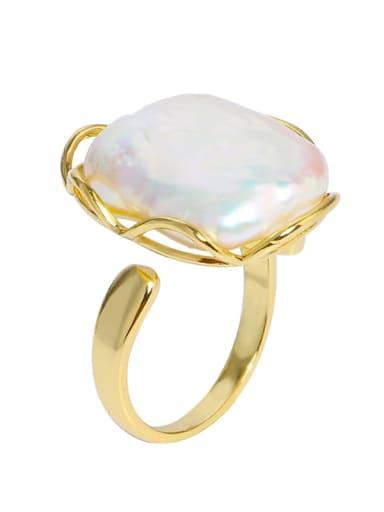 Brass Freshwater Pearl Geometric Vintage Midi Ring