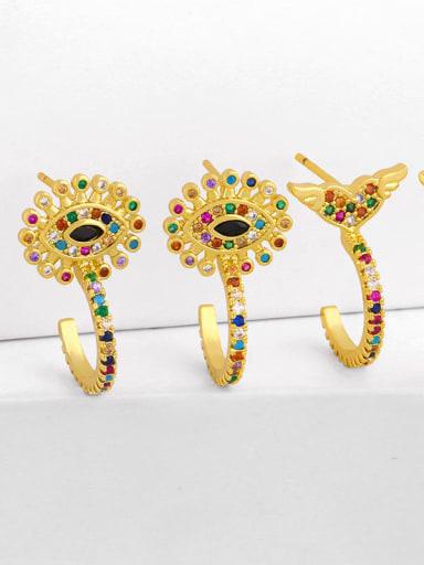 Brass Cubic Zirconia Rainbow Vintage Huggie Earring