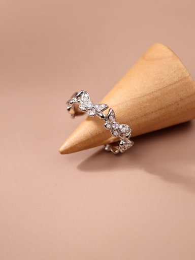 925 Sterling Silver Cubic Zirconia Butterfly Minimalist Band Ring