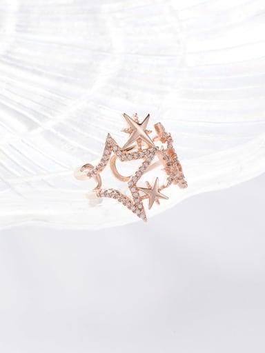 A gold Zinc Alloy Rhinestone White Ring