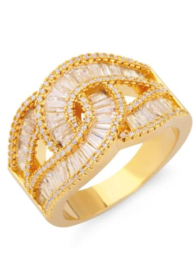 Brass Cubic Zirconia Geometric Statement Band Ring