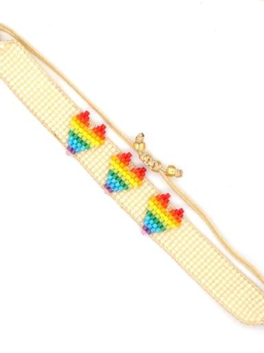 MI B200057B Stainless steel Multi Color Polymer Clay Letter Bohemia Handmade Weave Bracelet