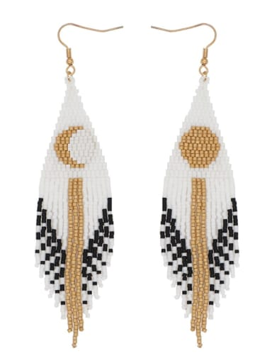 Stainless Steel Multi Color Miyuki Bead Tassel Bohemia Hand-Woven Earring