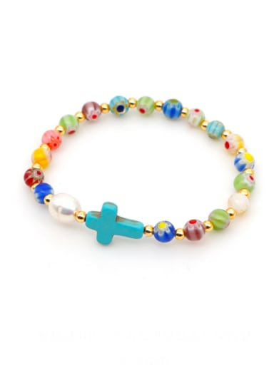 B B200028C Stainless steel Freshwater Pearl Multi Color Round Bohemia Stretch Bracelet