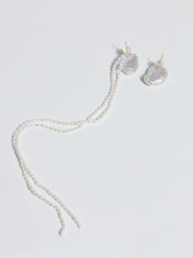 Brass Freshwater Pearl Asymmetry Tassel Minimalist Drop Earring
