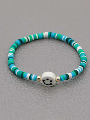 RT B200021A Stainless steel Multi Color Polymer Clay Geometric Bohemia Stretch Bracelet