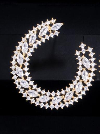Gold Brass Cubic Zirconia Geometric Luxury Cluster Earring