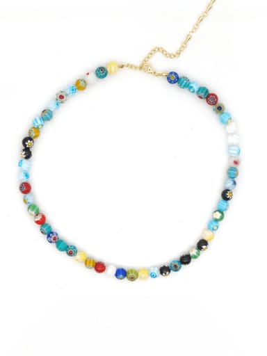 B N200004A Stainless steel Glass Stone Multi Color Round Bohemia Necklace