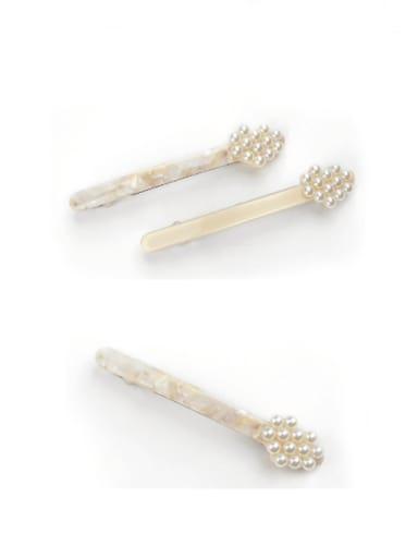 Cellulose Acetate Minimalist Flower Zinc Alloy Imitation Pearl spring Hair Barrette