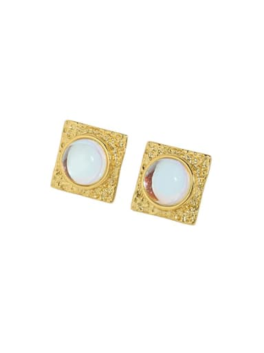 18K gold [with pure Tremella plug] 925 Sterling Silver Opal Geometric Vintage Stud Earring
