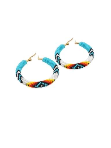 Stainless steel Multi Color Miyuki beads Geometric Bohemia  Pure Handmade Hoop Earring