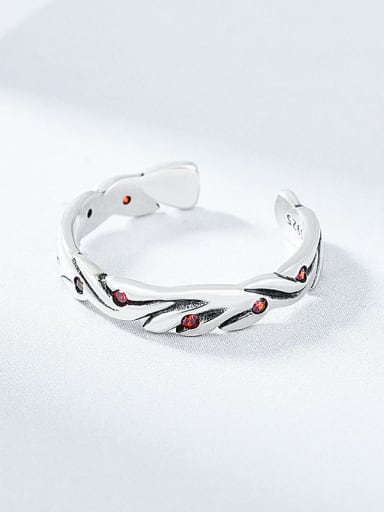 red 925 Sterling Silver Rhinestone Irregular Vintage Band Ring