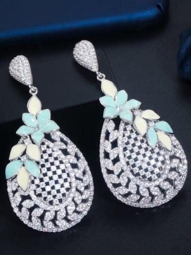 Brass Cubic Zirconia Hollow Water Drop Luxury Cluster Earring