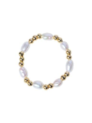 Brass Freshwater Pearl Geometric Minimalist Band Ring