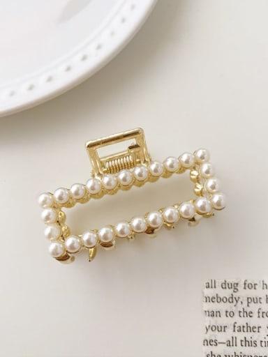 Geometric pearl 5cm*2.5cm Alloy Imitation Pearl Minimalist Geometric  Jaw Hair Claw