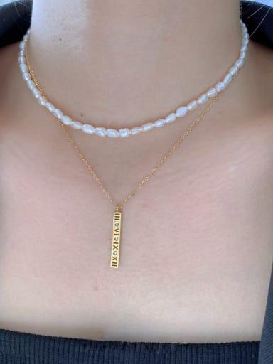 Titanium Steel Freshwater Pearl Geometric Minimalist Multi Strand Necklace