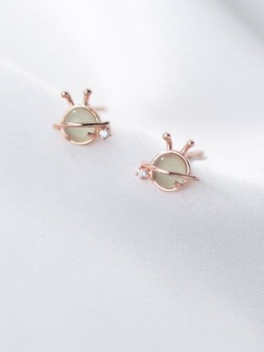 rose gold 925 Sterling Silver Cats Eye Geometric Cute Stud Earring