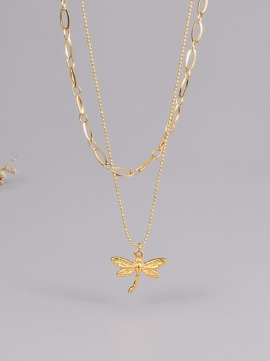 Titanium Steel Dragonfly Minimalist Multi Strand Necklace