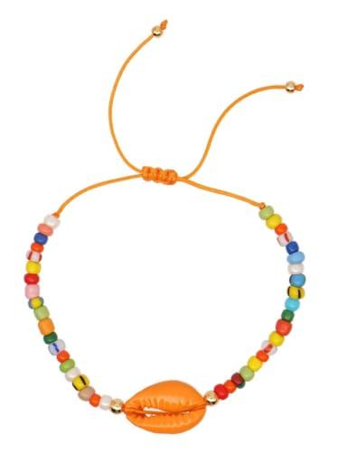 B B200011B Stainless steel Glass Bead Multi Color Geometric Bohemia Woven Bracelet