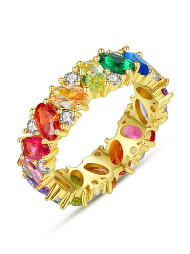Copper Cubic Zirconia Multi Color Geometric Dainty Band Ring