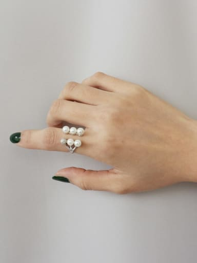 925 Sterling Silver Imitation Pearl Trend Cocktail Ring