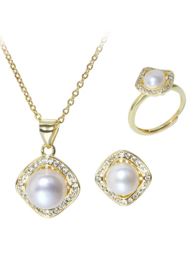 Brass Freshwater Pearl Minimalist Geometric  Earring Ring and Necklace Set