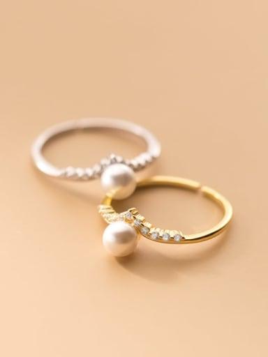 925 Sterling Silver Imitation Pearl Geometric Minimalist Band Ring
