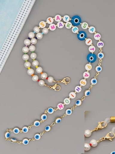ZZ N200088C Stainless steel Imitation Pearl Multi Color Letter Bohemia Hand-woven Necklace