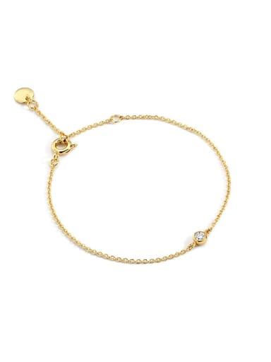 White Diamond Brass Rhinestone Geometric Minimalist Link Bracelet