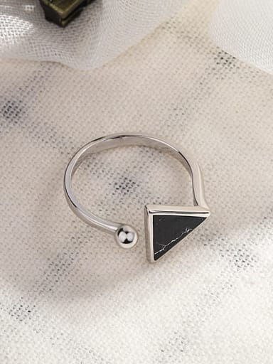 silver plated black [Turquoise] 925 Sterling Silver  Vintage Simple geometric triangle black and white turquoise  Band Ring