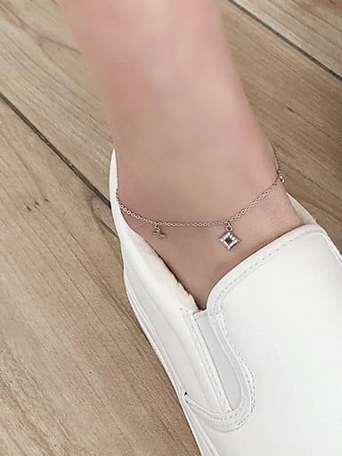 925 Sterling Silver Geometric Minimalist  Rhinestone Anklet