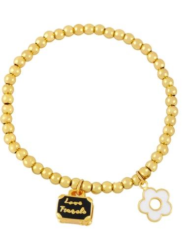 black Brass Enamel Flower Trend Beaded Bracelet