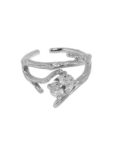 White gold [No. 14 adjustable] 925 Sterling Silver Cubic Zirconia Irregular Vintage Band Ring
