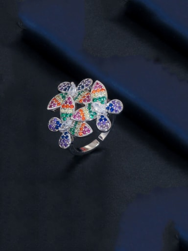 platinum Copper With Platinum Plated Luxury Flower Free Size Statement Rings